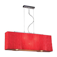 PLC Lighting Leona Pendant in Red with Red Silk Shade Glass 73008-RED