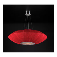 PLC Lighting Mars Pendant in Red with Red Silk Shade Glass 73012/CFL-RED