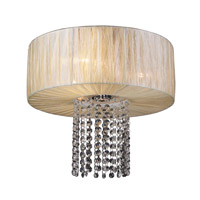 PLC Lighting Pegasus Flush Mount in Beige with Biege Silk Shade Glass 73023/CFL-BEIGE