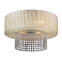 PLC Lighting Pegasus Flush Mount in Beige with Biege Silk Shade Glass 73025/CFL-BEIGE