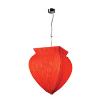 Bombay 1 Light 14 inch Polished Chrome Pendant Ceiling Light in Red Silk, Incandescent