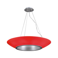 PLC Lighting Aggo 5 Light Pendant in Aluminum and Red Glass 74122/CFL-RED