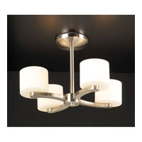 PLC Lighting De Lion Flush Mount in Satin Nickel with Matte Opal Glass 7618-SN