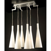 PLC Lighting Magista Chandelier in Aluminum with Matte Opal Glass 7636-AL photo thumbnail