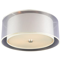 PLC Lighting 7676PCLED Merritt LED 18 inch Polished Chrome Flush Mount Ceiling Light in White fabric with Organza