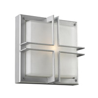 PLC Lighting Piccolo Outdoor Wall Sconce in Silver with Frost Glass 8026-SL
