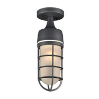 PLC Lighting 8052BZ Cage 1 Light 5 inch Bronze Outdoor Semi-Flush Mount in Incandescent