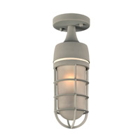 PLC Lighting 8052SL Cage 1 Light 5 inch Silver Outdoor Semi-Flush Mount in Incandescent