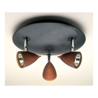 PLC Lighting Vetro 3 Light Flush Mount in Black and Blue Glass 8113-BLUE/BK