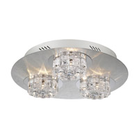 PLC Lighting Ice Age Flush Mount in Aluminum with Clear Glass 81246-AL