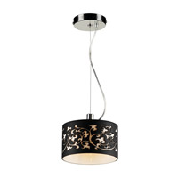 PLC Lighting Tuxedo 1 Light Mini Pendant in Polished Chrome 81821-BLACK