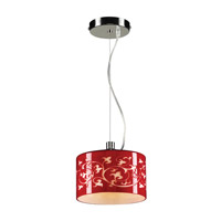 PLC Lighting Tuxedo 1 Light Mini Pendant in Polished Chrome 81821-RED