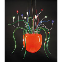 PLC Lighting Gelato Chandelier in Polished Chrome with Orange Bowl W. Mixed Color Arms Glass 87769-PC