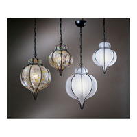 PLC Lighting Piero-I Pendant in Black with Satin Glass 8900-SATIN/BK