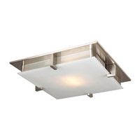PLC Lighting Polipo Flush Mount in Satin Nickel with Acid Frost Glass 907/CFL-SN
