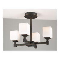 PLC Lighting Modena Flush Mount in Oil Rubbed Bronze with Matte Opal Glass 946-ORB