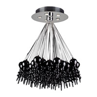 PLC Lighting Dolce 5 Light Chandelier in Polished Chrome and Black Glass 96949-BLACK