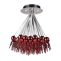 PLC Lighting Dolce 5 Light Chandelier in Polished Chrome and Red Glass 96949-RED