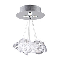 PLC Lighting Elegance Flush Mount in Polished Chrome with Clear Ribbed Glass 96973-PC