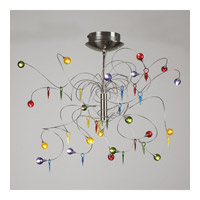 PLC Lighting Nautilus Chandelier in Satin Nickel with Mixed Color Glass Glass 97971-SN