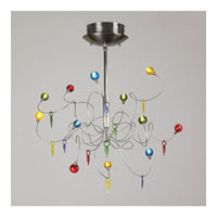 PLC Lighting Nautilus Chandelier in Satin Nickel with Mixed Color Glass Glass 97973-SN