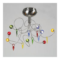 PLC Lighting Nautilus Flush Mount in Satin Nickel with Mixed Color Glass Glass 97976-SN