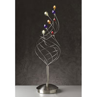 PLC Lighting Nautilus Table Lamp in Satin Nickel with Mixed Color Glass Glass 97979-SN