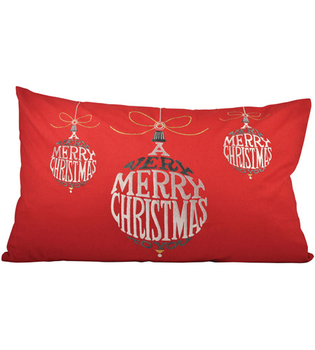 Pomeroy 905070 Very Merry Christmas 26 inch Red Pillow Cover photo