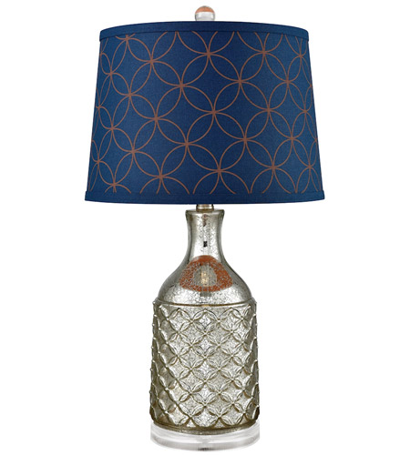navy table lamp bedside pomeroy 981227 indigo 25 inch 100 watt antique silver and navy table lamp portable light photo