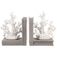 Pomeroy 000522 Coralyn 6 X 4 inch White/Grey Bookend