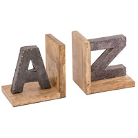 Urban Loft 6 X 4 inch Galvanized with Mango Wood Bookend, Pair