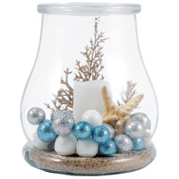 Shiloh 7 inch Clear/White/Azure Hurricane Portable Light