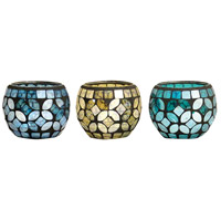 Primavera Azure/Nautical Blue/Wheat Mosaic Votive