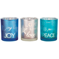 Reflections Frosted Antique Teal/Silver/Blue Votive