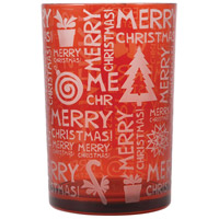 Merry Christmas 7 inch Red/Frost Hurricane Portable Light