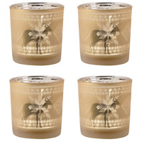 Reindeer Frosted Gold Holiday Votive Holders