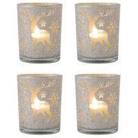 Reindeer Silver Art Holiday Pillar Holders