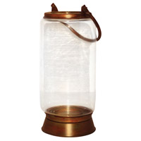 Taos Burned Copper/Clear Hanging Candle Lantern