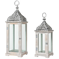 Chelsea 27 inch Weathered White with Natural Outdoor Candle Lantern