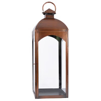 Cooperstown Antique Copper/Clear Hanging Candle Lantern
