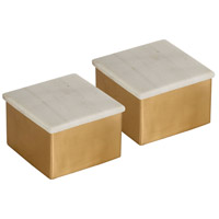 Pomeroy 406348/S2 Castelby 4 X 4 inch Antique Brass and Stone Box