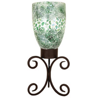Pebble 20 inch Rustic/Seafoam Hurricane Portable Light