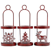 Heartland Antique Red/Clear Holiday Hanging Candle Lantern