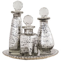 Daphne Antique Silver Tray and Bottle Set
