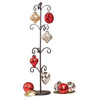 Festival Rustic/Antique Red/Silver/Champagne Holiday Ornaments and Stand