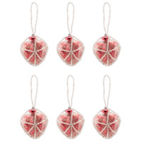 Beaded Ornaments Red Holiday Ornaments