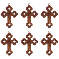 Cross Burned Copper Holiday Ornaments
