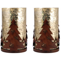 Pomeroy 519338/S2 Tree Montana Rustic/Antique Wheat Artifact Holiday Luminarias