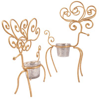 Pomeroy 519444/S2 Gilded Gold/Antique Silver Artifact Holiday Candle Holders