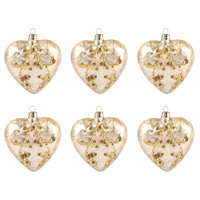 Heart Gold Holiday Ornaments